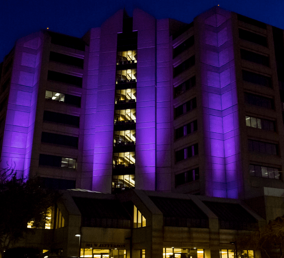 building lit purple