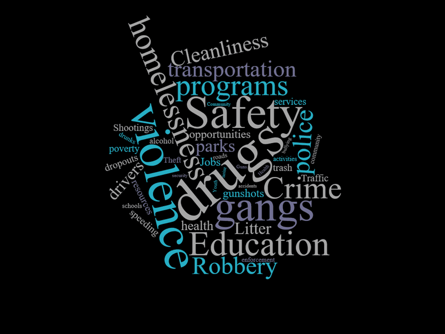 word cloud safety drugs violence homelessness gangs crime education